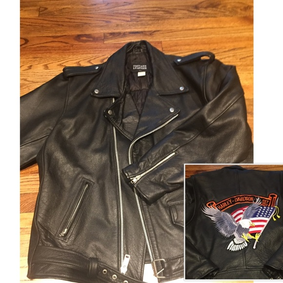 f064421db Trucker Leather Jackets & Coats | Vintage Stitched Harley Davidson ...